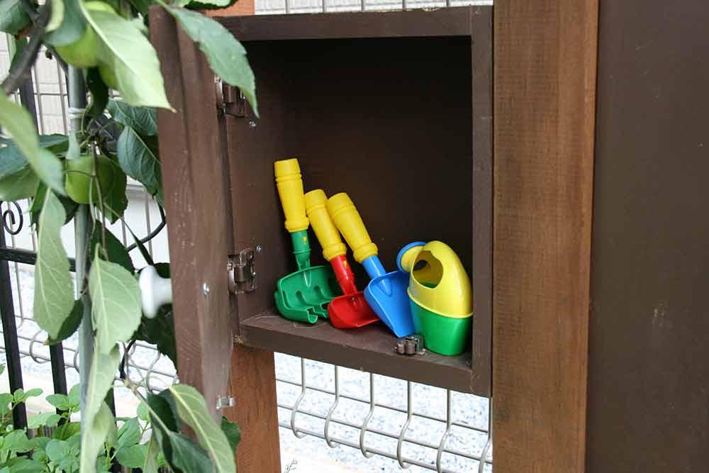 おもちゃを収納。庭がすっきり。